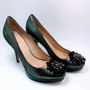 Coach Embellished Heel/Pump-  Metallic Gray